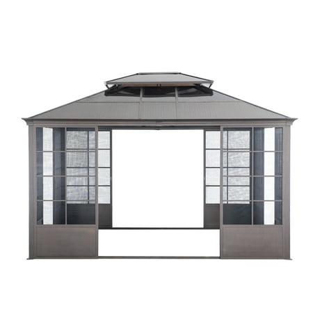 Image of Sunjoy Sheridan 12 ft. x 14 ft. Brown Steel Screenhouse with 2-tier Hardtop