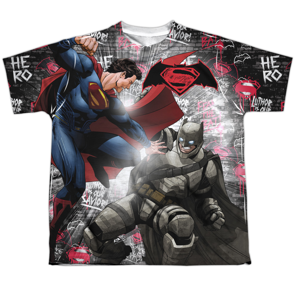 Batman v Superman: Dawn Of Justice Men's  Showdown Sublimation T-shirt White
