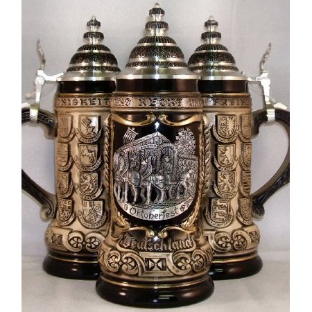Octoberfest Beer Wagon Pewter Relief Oktoberfest German Beer Stein .75L ONE Mug - Oktoberfest Sayings