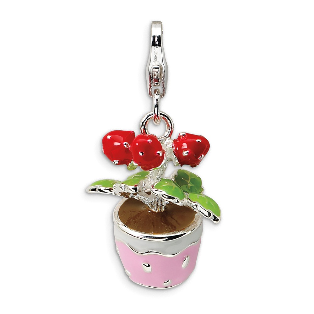 Amore La Vita Sterling Silver 3-D Enameled Sewing Machine with Lobster Clasp Charm