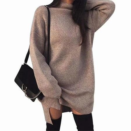Akoyovwerve Womens High Neck Loose Long Sleeve Knit Pullover Sweater Jumper Shirt Tops Mini Split Dress,Khaki