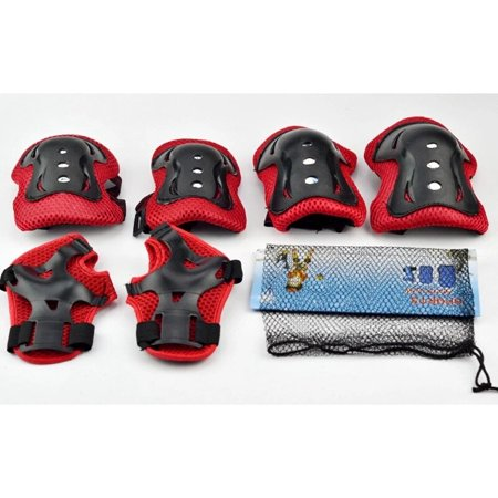 6X Kids Outdoor Sports Protective Gear Knee Elbow Pads Wrist Guards Roller Skating Cycling Safety Protection Color:Red ()