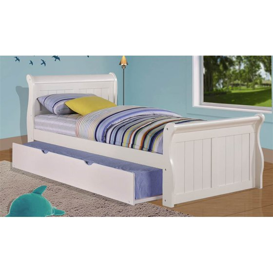 Twin sleigh bed with twin trundle bed in white White twin trundle bedroom set