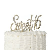 Product Image Sweet 16 Cake Topper Crystal Rhinestone 16th Birthday Party Gold Decoration