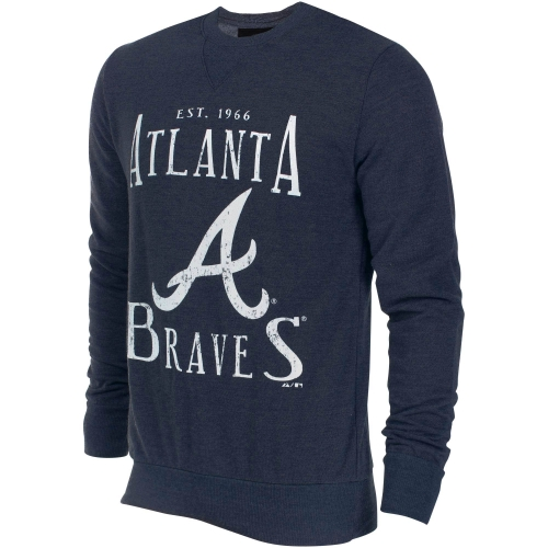 Atlanta Braves Majestic Threads Established Tri-Blend Sweatshirt - Heathered Navy
