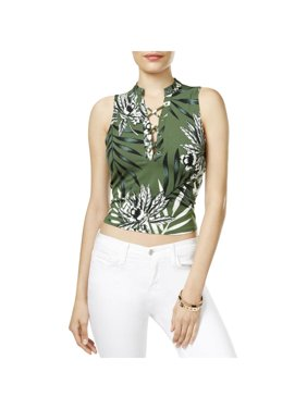 19f08b2f187810 Product Image guess womens callista lace-up floral print crop top