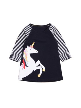 057e86cee8d3d Product Image Toddlers Girls Kids Cotton Long Sleeve Appliques Striped  Dresses Casual T Shirt Dress. Emmababy