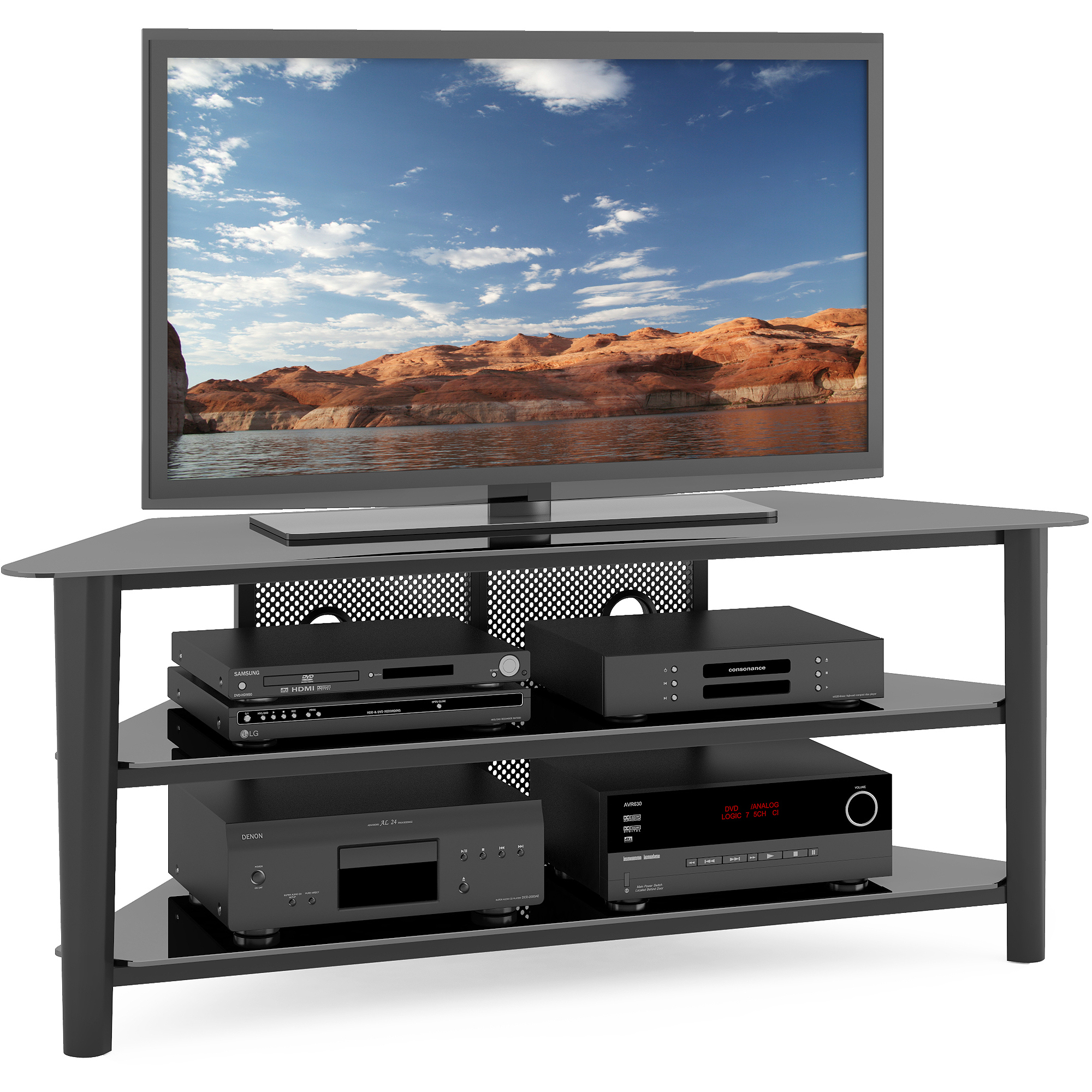 CorLiving Alturas Wood Veneer TV Stand for TVs up to 68""