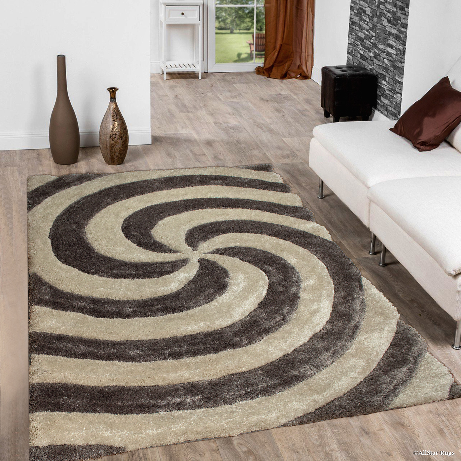 Allstar Silver Shaggy Area Rug with 3D Spiral Design. Contemporary Formal Casual Hand Tufted (5' x 7')