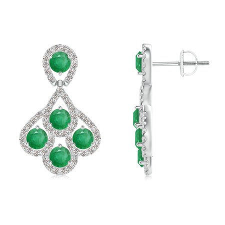 88edf2c35bc53 May Birthstone Earrings - Emerald Dangle Earrings with Diamond Outline in  Platinum (3mm Emerald) - SE1005ED-PT-A-3
