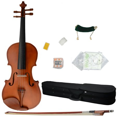Glarry 4/4 Matt Wood Color Violin + Case + Bow + Rosin + Shoulder Rest + String + Tuner Full Size ()
