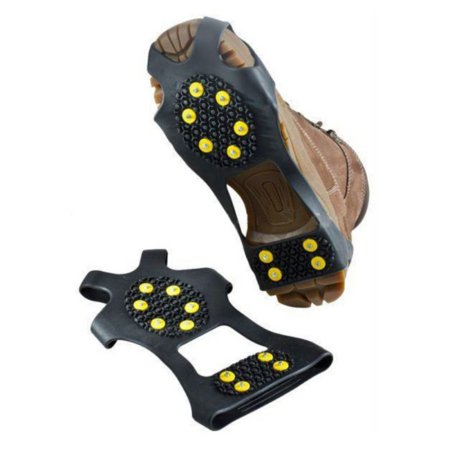 Snow Grippers Ice Cleats - Snow Grips Crampons Anti-Slip Traction Cleats Ice Grippers for Shoes and Boots - Steel Studs Slip-on Stretch Footwear for Women Men Kids ()