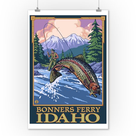 Fly Fishing Trout Prints - Bonners Ferry, Idaho - Angler Fly Fishing Scene (Leaping Trout) - Lantern Press Poster (9x12 Art Print, Wall Decor Travel Poster)