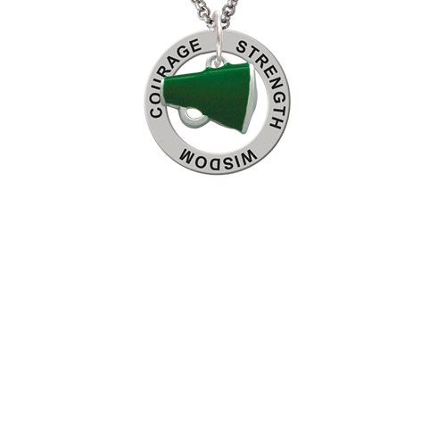 Small Green Megaphone Strength Wisdom Courage Affirmation Ring Necklace