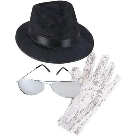 MJ Michael Jackson Costume Bundle With Fedora Hat Glove And (Michael Jackson's Glove)
