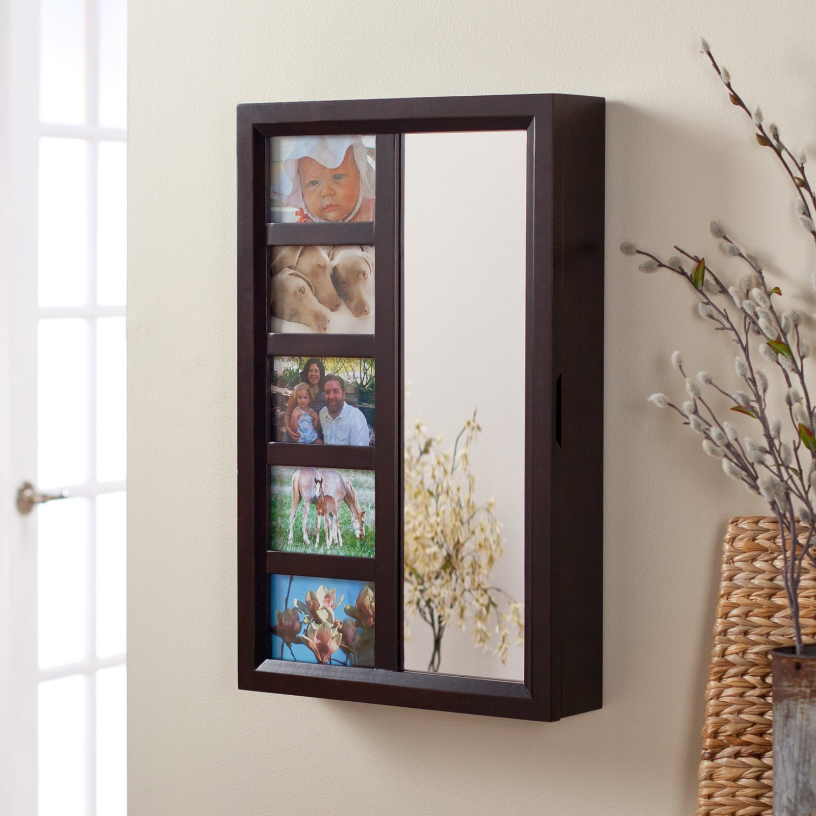 Photo Frames Wall Mount Jewelry Armoire Mirror Espresso 16w X