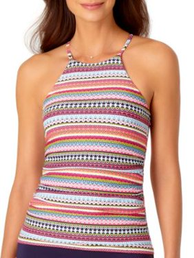 Anne Cole Signature Womens Jet Set Stripe High Neck Tankini Top Style-20MT20613