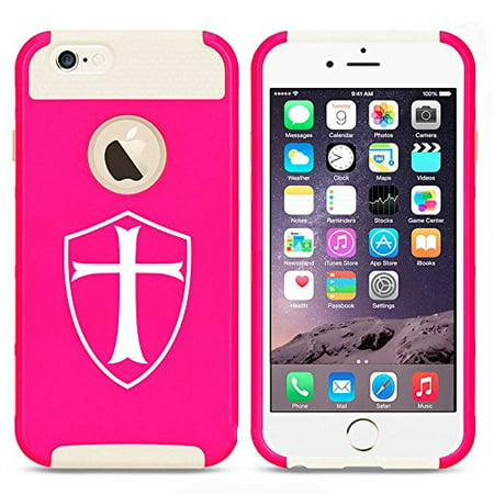 Apple iPhone 5 5s Shockproof Impact Hard Case Cover Templar Shield Knight Cross (Hot Pink-White),MIP](Knight Shield)