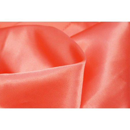 - 54 inch by 40 yards Material: 100% Polyester Satin Fabric Roll - Coral