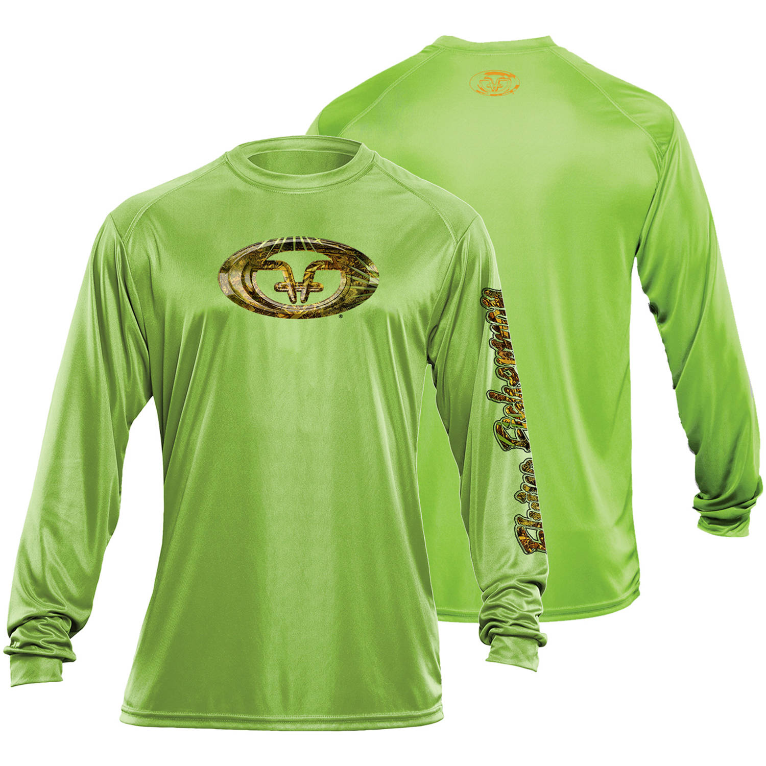 Flying Fisherman Camo Logo Performance Tee, Lime, L by Flying Fisherman