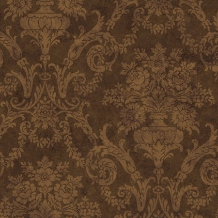 Chesapeake by Brewster SIS40595 Oasis Brown Larkspur Damask Wallpaper - Walmart.com