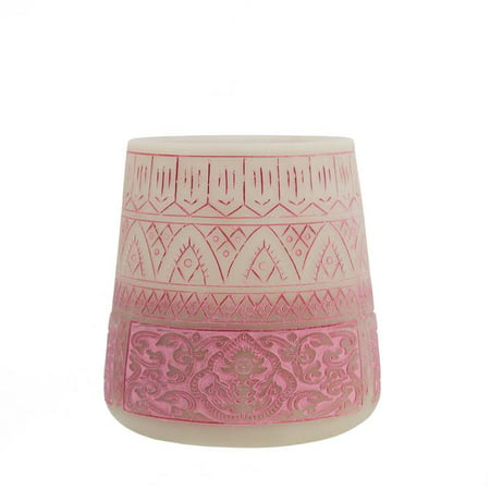 "5.5"" Petit Bazaar Etched Moroccan Pink Decorative Pillar Candle Holder"