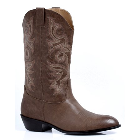 Clint Mens Brown Cowboy Halloween Costume Boots (Cowboy Costume Boots)