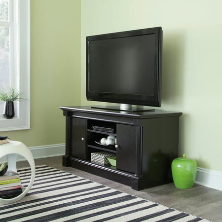 Sauder Palladia Waxed Black Panel TV Stand for TVs up to 50″