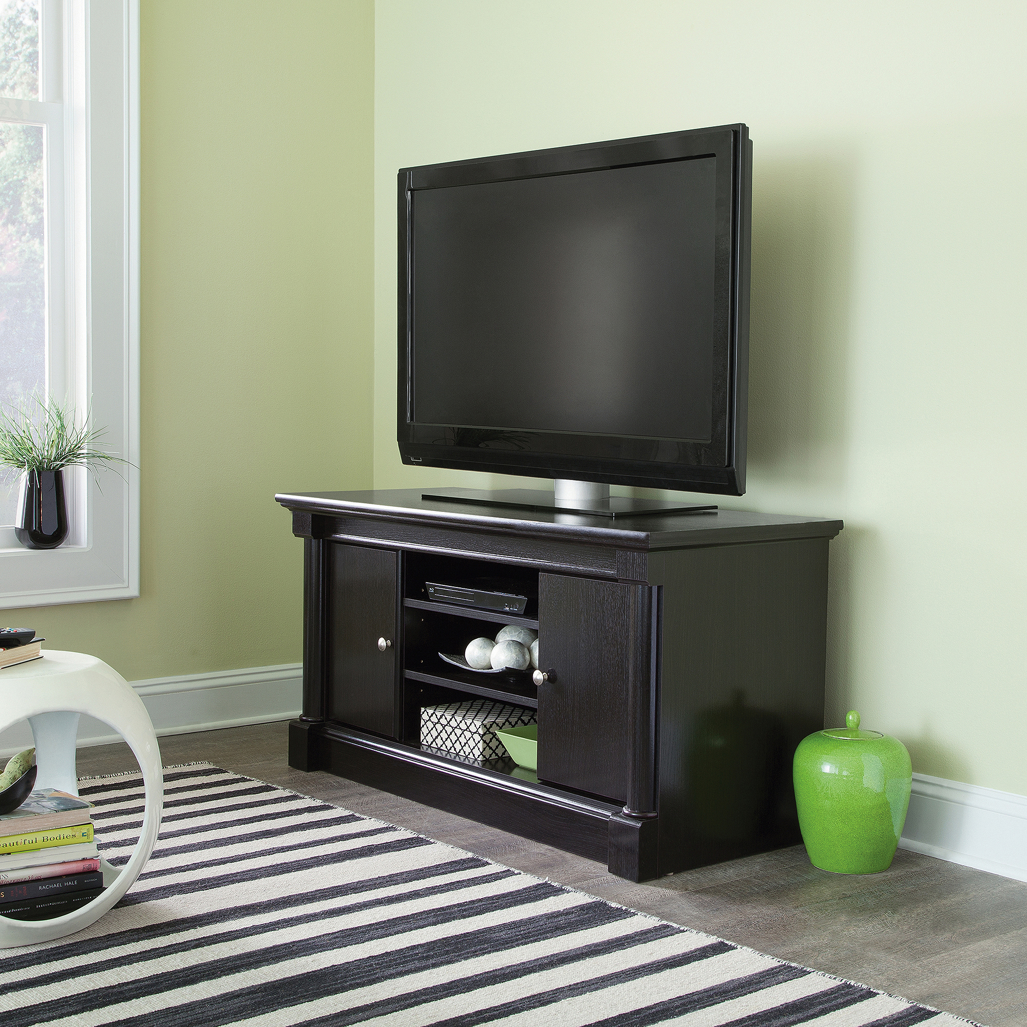"""Sauder Palladia Waxed Black Panel TV Stand for TVs up to 50"""""""