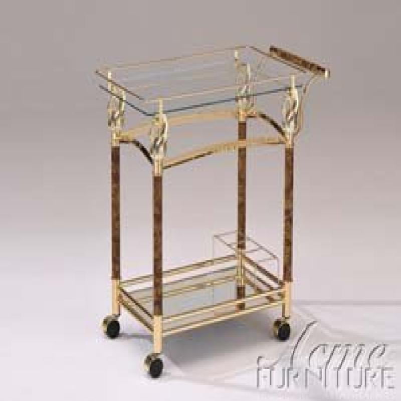 ACME Helmut Serving Cart, Golden Plated by Acme Furniture