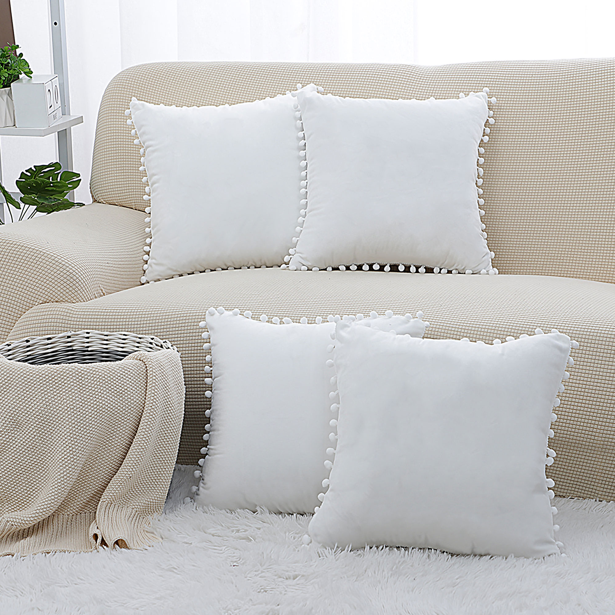Chocolate Pillowcases 18x18 Granbest High Stretch Sofa Throw Pillow Covers Water Repellent Square Pillowcases Couch Cushion Covers Set Of 2 Bedding Home Kitchen