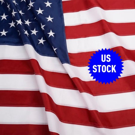 Costway 3'x5' FT Sewn Stripes Embroidered Stars Brass Grommets USA US U.S. American (Nylon Embroidered Usa Flag)