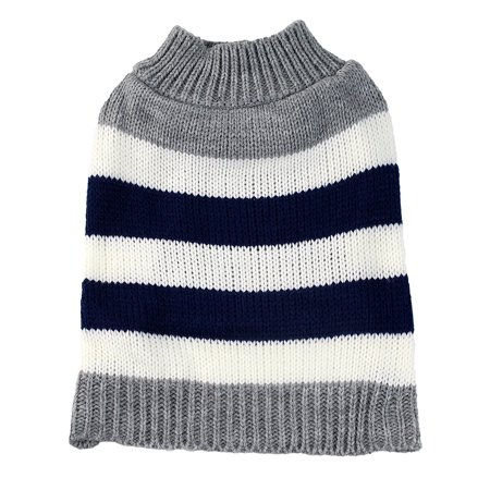 Medium Gray Striped Colorblock Dog Sweater by Midlee fits 14