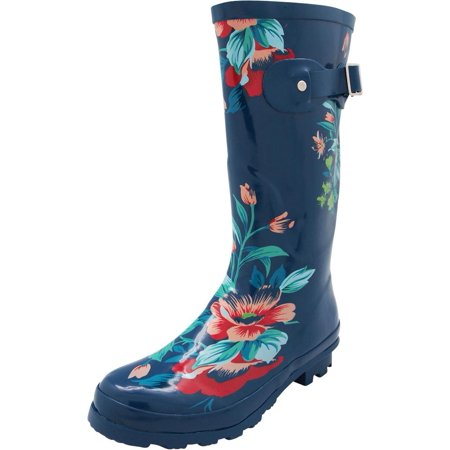 Norty Womens Hurricane Wellie - Glossy Matte Waterproof Mid-Calf Rainboots, 40705 Blue Floral / 6B(M)US ()