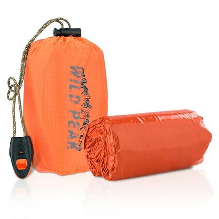 Wild Peak Emergency Waterproof Bivy Sack Sleeping Bag with Survival Gear Whistle - Ultra Lightweight, Compact Thermal Mylar Blanket, Reflective, Reusable, Durable Bivvy Bivy Sack Kit