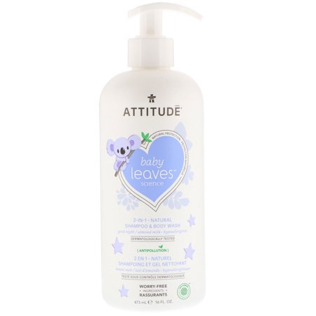 ATTITUDE  Baby Leaves Science  2-In-1 Natural Shampoo   Body Wash  Almond Milk  16 fl oz  473 ml