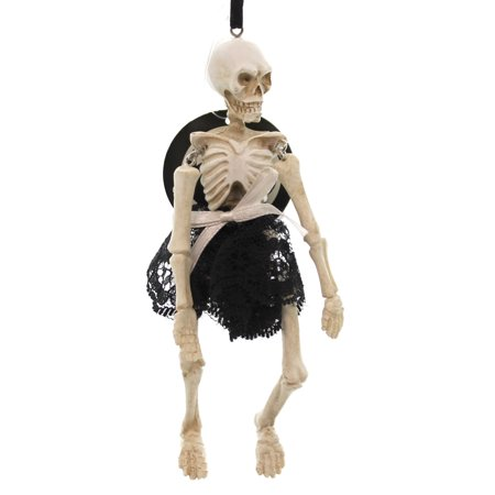Halloween MADAME SKELETON ORNAMENT Polyresin Lace Skirt Indoor Use for $<!---->