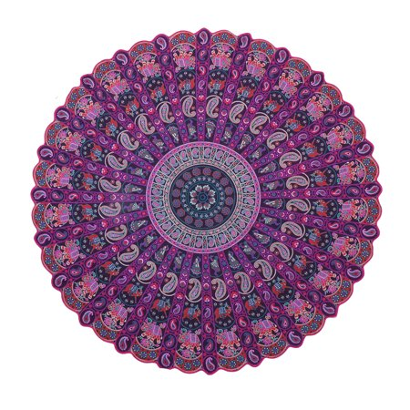 Pink Purple Paisley Mandala Roundie Patio and Garden Throw Blanket Beach Round Tapestry Barmeri Round Cutwork Picnic Towels by Goood Times