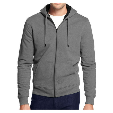 Ameritac Men's Hoodie Zip Up Jacket Sherpa Lined with Quilted Sleeves Sweater ()