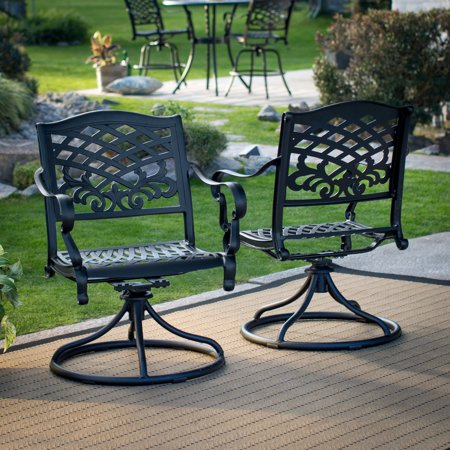 Belham Living Soro Cast Aluminum Patio Dining Swivel Arm Chair Set Of 2