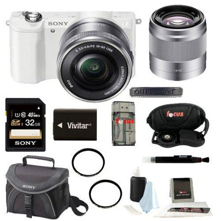 Sony Alpha a5000 20.1MP Mirrorless Interchangeable Lens Camera (White) with 50mm F1.8 Lens and 32GB Deluxe Accessory Kit