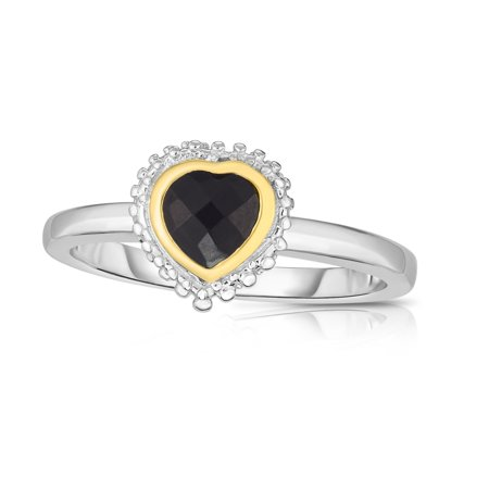 18k Gold And Sterling Silver Black Heart Onyx Fancy Ring, Size 9 - image 1 of 1