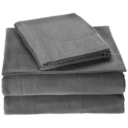 Image of Brielle Flannel 100% Cotton Twin Sheet Set (Set of 3), Grey