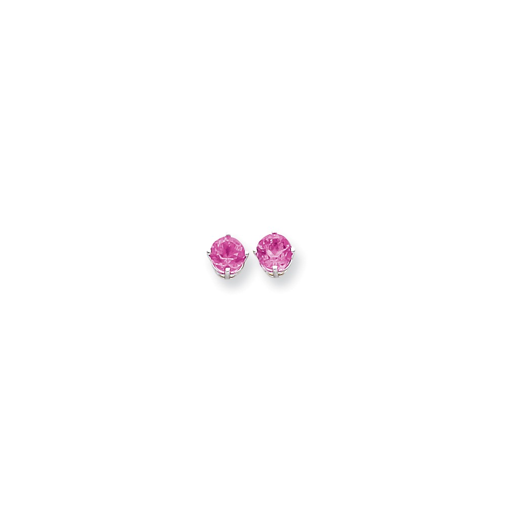 14K White Gold Round Form 4-Prong Set Pink Tourmaline Stud Earrings by Tourmaline Sets