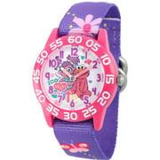 Abby and Elmo Girls' Pink Plastic Time Teacher Watch, Purple Stretchy Nylon Strap