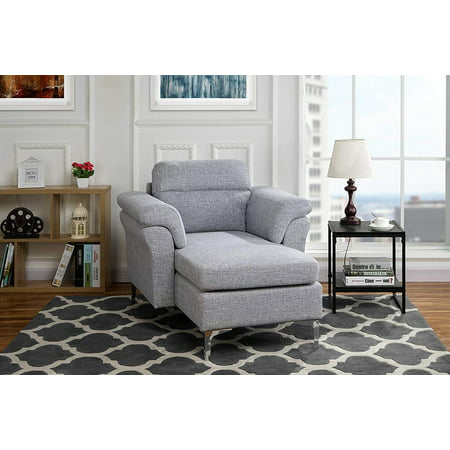 Modern Living Room Linen Fabric Chaise Lounge with Arm Rests (Light Grey) (Arm Facing Chaise Sleeper)