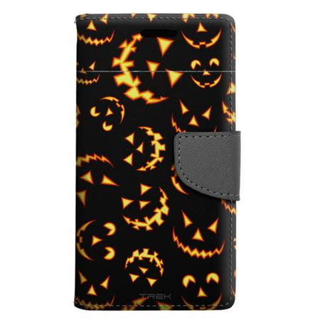 samsung galaxy j7 sky pro wallet case halloween jack o lantern pattern case