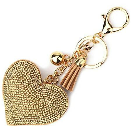 - elesa miracle girl women love heart tassel keychain, purse bag charm, handbag accessories, car key chain (gold)