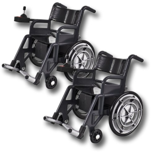 Set of 2 Plastic Toy Wheelchairs for WWE Wrestling Action Figures