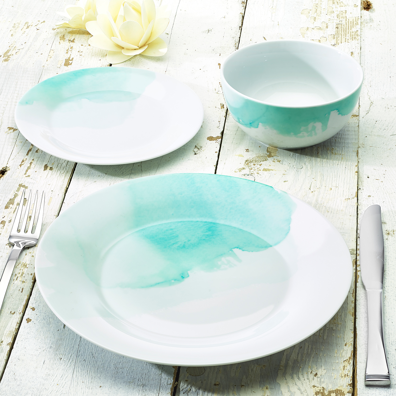 Ocean Blue Watercolor Collection 12 Piece Porcelain Dinnerware set, Exclusive